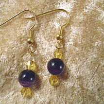 New Purple Cat's Eyes With Yellow Crystals & Gold Plated Pierced Earrings - $5.99