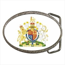 Royal Coat of Arms United Kingdom Chrome Finished Belt Buckle - Heraldic... - $9.96