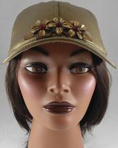 Woman's Metallic Gold Adjustable Baseball Cap w Vintage Gold Flower Pin - $29.00
