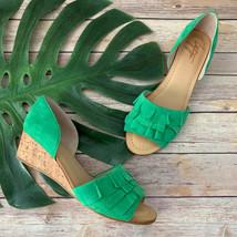 Latigo Anthropologie Shona Wedge Sandals Size 8.5 New Green Suede Ruffle... - $42.56