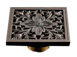 Panda Superstore Archaistic Brass Square Shower Floor Drain Art Carved Kitchen S