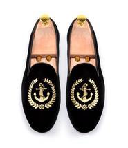 Handmade Men's Black Fashion Embroidered Slip Ons Loafer Velvet Shoes image 1