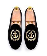 New Handmade Men's Black Fashion Embroidered Slip Ons Loafer Velvet Shoes - $129.99+