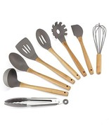 Silicone Kitchen Utensils - 8PCS Cooking Utensils Set with Natural Bambo... - $19.65