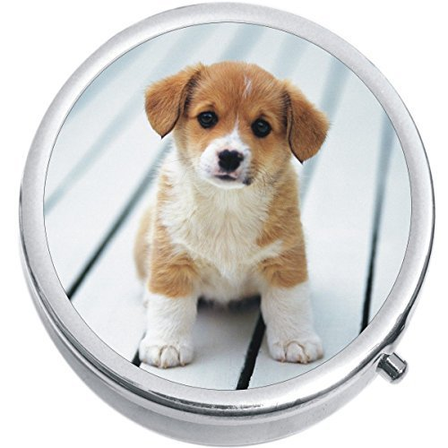 Primary image for Corgi Puppy Dog Medicine Vitamin Compact Pill Box