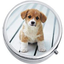 Corgi Puppy Dog Medicine Vitamin Compact Pill Box - $9.78