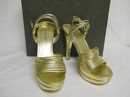Via Spiga New Womens Aida Gold Leather Platform Heels 10 M Shoes  - $88.11