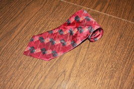 Men Men's Neck Tie George Machado Silk Burgundy Gold Black Made in the USA - $7.84