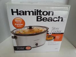 Hamilton Beach 6-qt Silver Slow Cooker #33167 Church Crock Pot One Pot Meal - $17.82