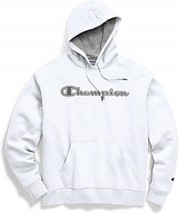 Champion Powerblend Applique White Pullover Hoodie Sweatshirt Adult Large - $44.54