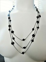 Long Necklace 1928 Jewelry Company Triple Strand Black Tone Beveled Stones Bezel - $25.74