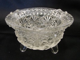 Fenton Clear Glass Button Daisy Tri Foot Round Kettle Ashtray Vintage - $20.34