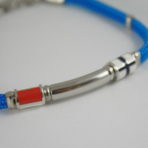 925 SILVER BRACELET NAUTICAL AZURE ROPE & 2 GLAZED FLAGS BY ZANCAN MADE IN ITALY image 2
