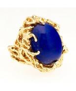 Retro Vintage Heavy 14K Yellow Gold Large Lapis Lazuli Free Form Stateme... - $1,282.05