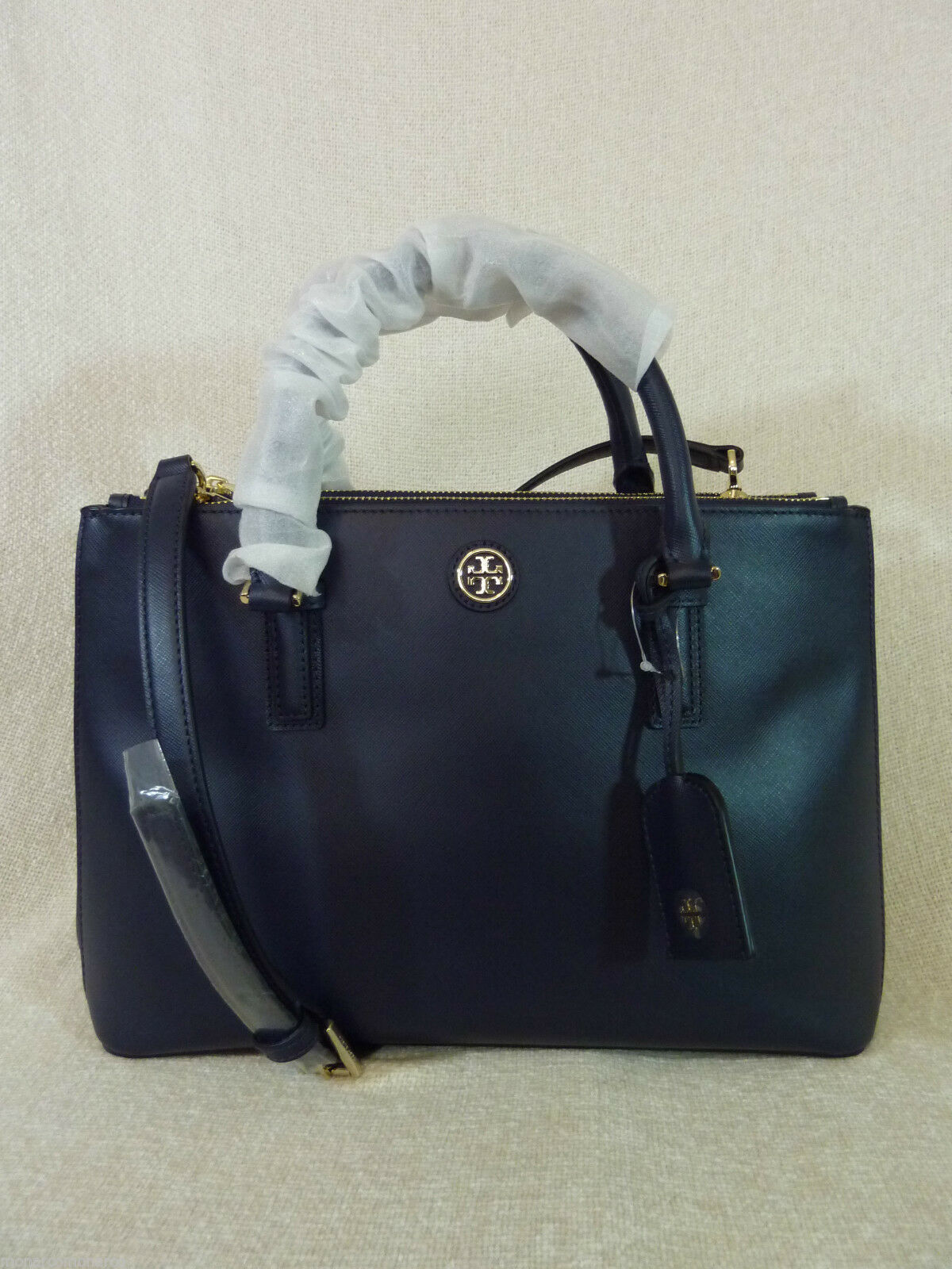 Tory Burch Navy Blue Saffiano Leather Robinson Mini Double-Zip Tote