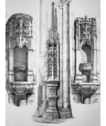 FRANCE Semur Cathedral Obelisk & Holy Water Basins - SUPERB 1843 Antique... - $18.00
