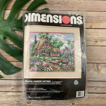 Dimensions Needlepoint Kit Peaceful Country Cottage New Vintage Wool Yarn - $24.74