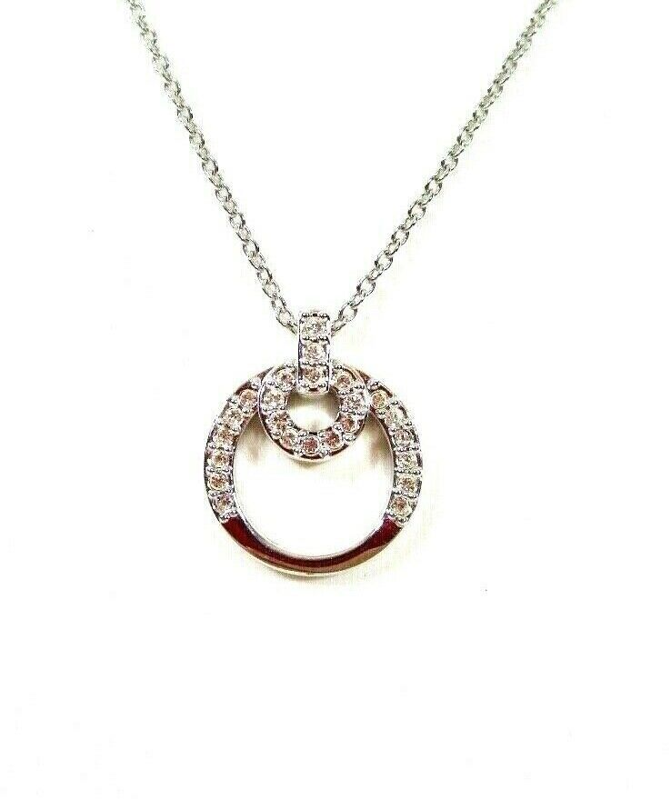"Primary image for Swarovski Crystal Double Circle Necklace Silver Tone 18"" to 20"""