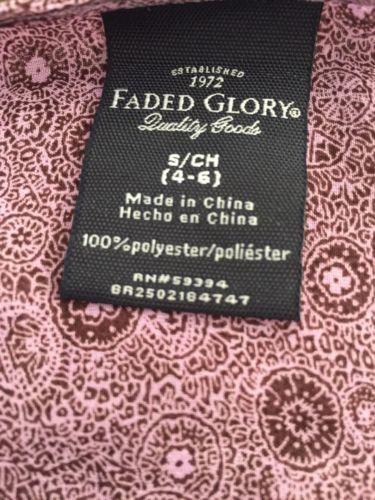 NWOT Faded Glory 3/4 Sleeve Semi Sheer Knit Top Drawstring Waist Size Small 4-6