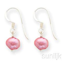 Sterling Silber Rosa Süßwasser Gezüchtete Perle Lange Ohrringe - $28.23