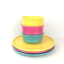 Vintage SRO Melamine 6pc Color Dinnerware Melmac Camping Plates Bowls NO... - $34.63