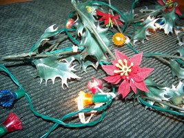Vintage poinsettia holly garland CHRISTmas lights mini decorative plasti... - $12.57