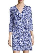 Diane von Furstenberg New Julian Clover-Print Cotton & Silk Jersey Wrap Dress... - $141.55