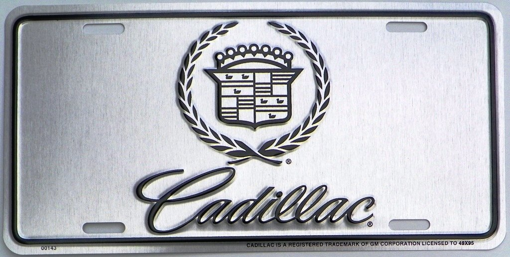 Cadillac Logo Silver with Black Logo License Plate
