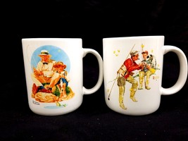 "VINTAGE 1987 NORMAN ROCKWELL Cup Mug Pair ""Catc... - $26.72"