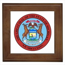 Seal Of Michigan USA Wall Tile Art (Home Decor) - Heraldic Tabard Design - $12.54