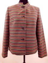 Talbots Petites Womens Jacket Horizontal Stripe Large Petite Casual Blaz... - $75.50