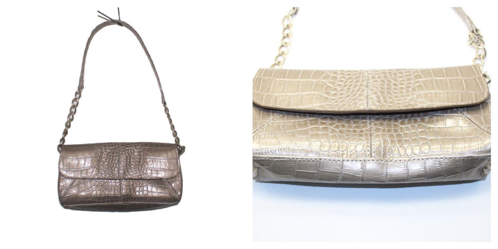 Liz Claiborne Chapagne Faux Croc Leather Flap Shoulder Bag Purse with Chain Strp - $29.70