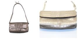 Liz Claiborne Chapagne Faux Croc Leather Flap Shoulder Bag Purse with Ch... - $29.70