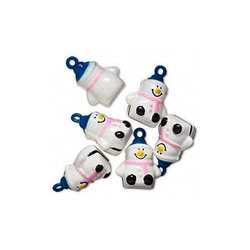 6 SNOWMAN Jingle BELLS with Pink Scarf + Blue Hat ~ Brass Christmas Crafts Beads - $8.07