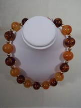 """Vintage Signed Napier 18"""" Gold Tone Faux Amber Ball and Bead Necklace - $119.99"""
