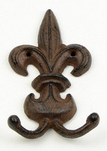 "Set of 2 Fleur De Lis Double Wall Hook Cast Iron 3 1/2"" wide - $12.86"