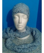 Beautiful black and blues never-ending scarf and hat set for little girls - $18.00