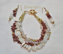 4 Strand Mixed Gemstone Bracelet and Earring Set Tiger Eye, Jasper, Quartz - $21.99