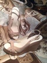 Elie Tahari Women's Wedge Tan Leather Slingback Sandals Size Eur 37.5M Mrsp $250 - $39.59