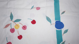 Colorful Vintage 50s Cotton Cherries Fruit Tablecloth Pears Apples Grapes Peach image 2