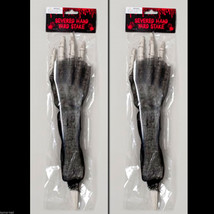 2-Pcs Skeleton Arm Body Parts BLOODY HORROR HAND LAWN STAKES SET Prop De... - $5.91