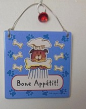 "Bone Appetit Hanging Tile Puppy Dog 5"" Plus Hanger Linda Grayson - $24.40"