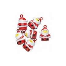 6 Jingle Bells Cute SANTA CLAUS with Red Suit and Hat ~ Brass with top Loop - $6.92