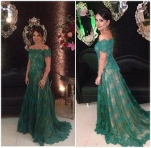 Green Tulle Lace A-Line Evening Dresses Formal Party Prom Bridal Gowns C... - $108.03