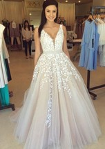 Champagne Tulle Beading A-Line Evening Dresses Formal Party Prom Bridal ... - $189.00