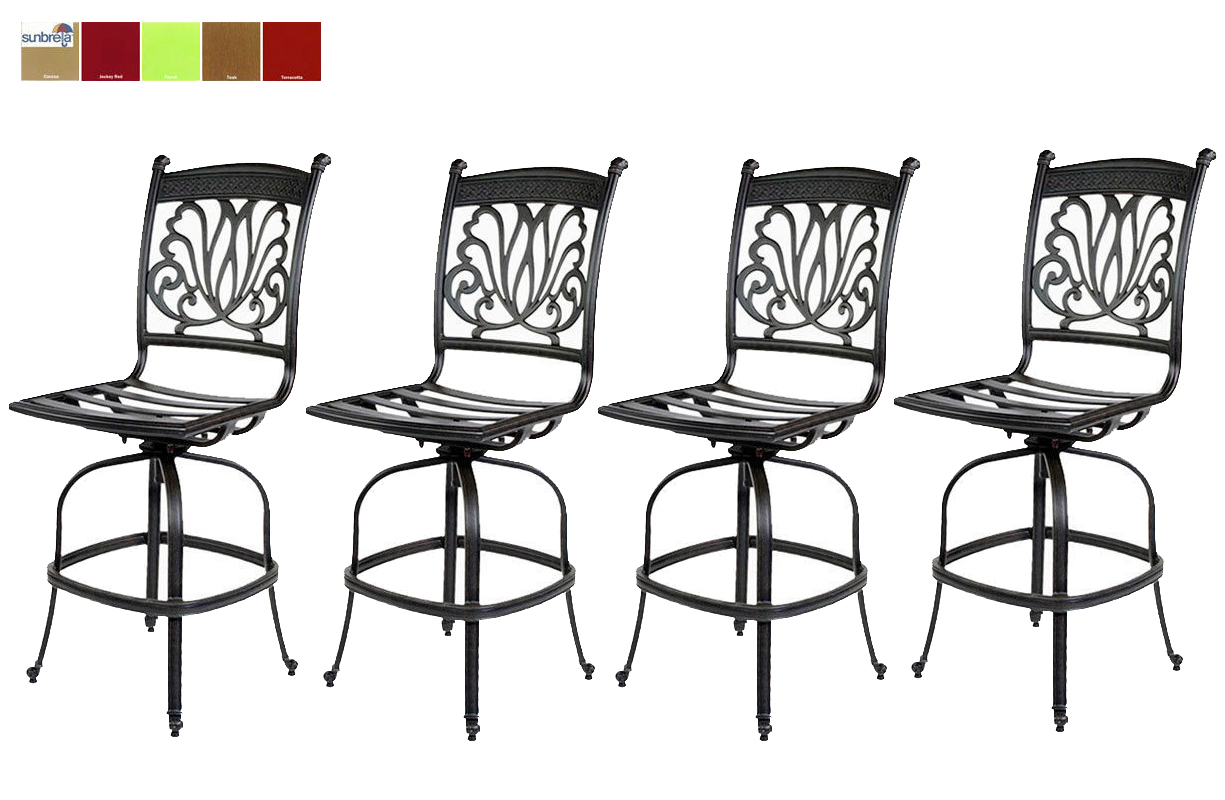 Outdoor Patio Bar Stools Set of 4 Swivel Cast Aluminum  : Patiobarstoolssetof4 from www.bonanza.com size 1225 x 800 jpeg 322kB