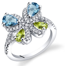 Women's Sterling Silver Blue Topaz and Peridot Butterfly Ring - $99.99