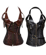 Plus Size Zip Front Brocade Steampunk Faux Leather Corset Lingerie Basqu... - $18.69+