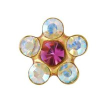 NEW Personal Ear Piercer Studex Crystal Rose daisy 24k gold plate 6mm su... - $11.99