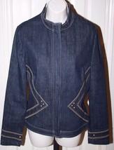 St. John Sport Women's Blue Denim Jean Jacket Blazer Zip Front Sz Medium... - $99.99